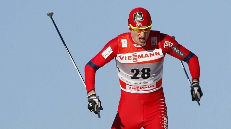 TREDJEPLASS: Petter Northug ble nummer tre på sprinten i dag, og er nå på fjerdeplass i sammendraget i Tour de Ski, 1.45 bak Dario Cologna. Foto: Andrea Solero, EPA/Scanpix