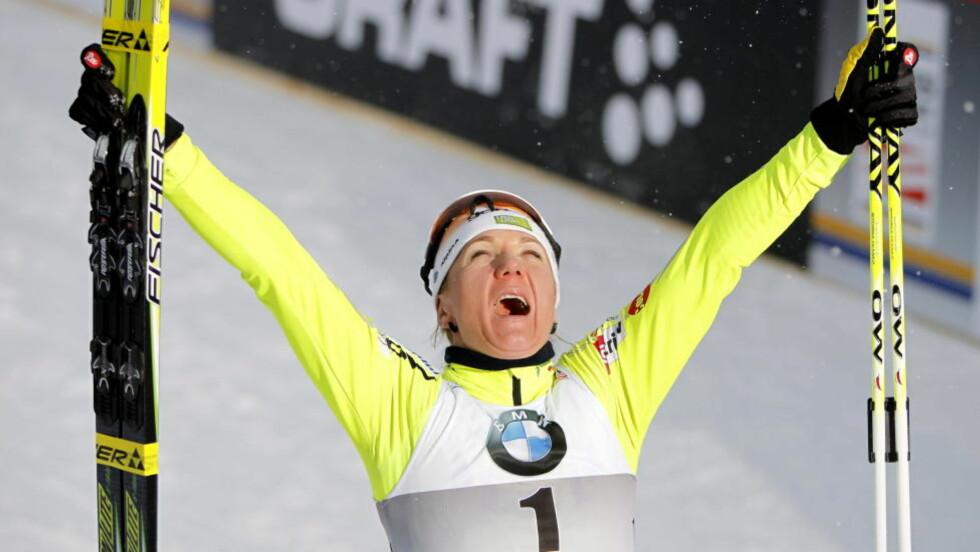 VANT MED EN FOT: Petra Majdic (Slovenia) vant til slutt finalen knepent. Foto: Gorm Kallestad / Scanpix