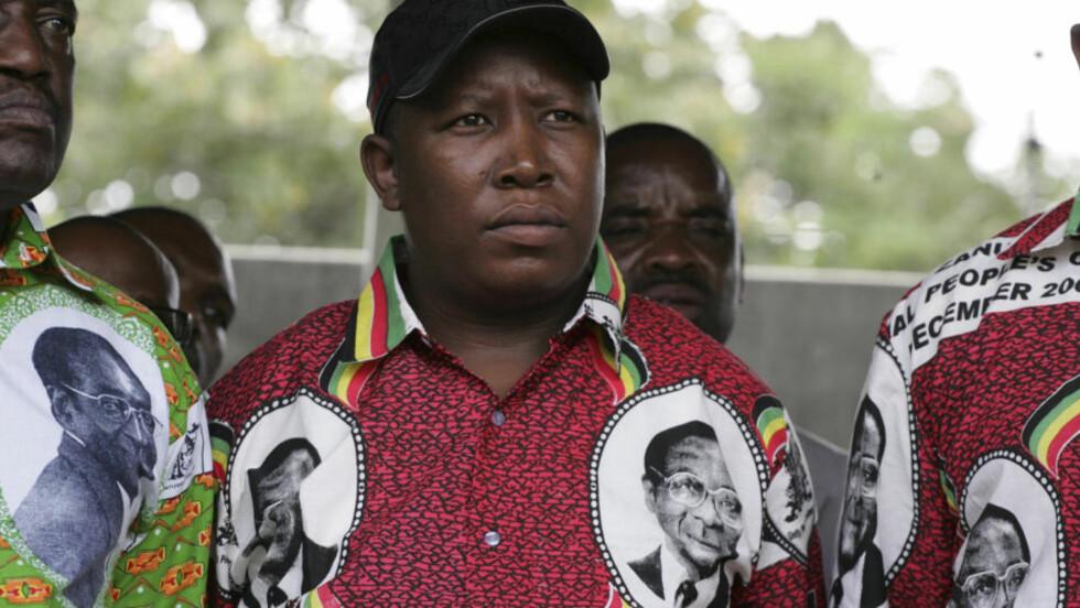 DET KRAKILSKE BARNET: Leiar i ANCs ungdomsliga, Julius Malema, er ein av populistane som nyttar militarismen frå 1980-åra som brekkstong for å oppnå størst mogleg personleg akkumulasjon av luksusgode, skriv Godø Andersen. Foto: Reuters/Scanpix