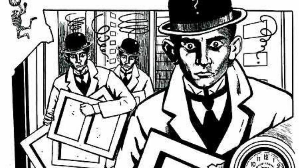 FORVIRRET: Mellom døden og klokken: Franz Kafka tegnet av den franske tegneren Chantal Montellier. Foto: FRA BOKA