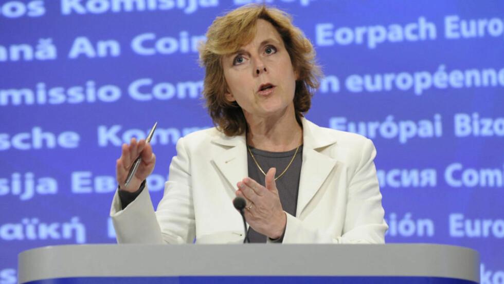 <strong>KRITISK:</strong> EUs klimakommisær Connie Hedegaard  advarer mot at seindrektighet i klimaforhandlingene. Foto: AFP PHOTO / JOHN THYS