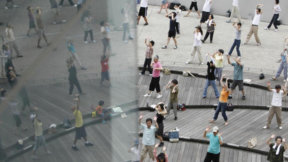 GAMMEL BEFOLKNING: Japan har verdens eldste befolkning, men nå ettergår politiet listene over eldre etter at 281 personer myndighetene trodde var i live i virkeligheten var døde. Her trimmer en gruppe japanere med tai chi, noe som skal gi et langt liv. Foto: Reuters