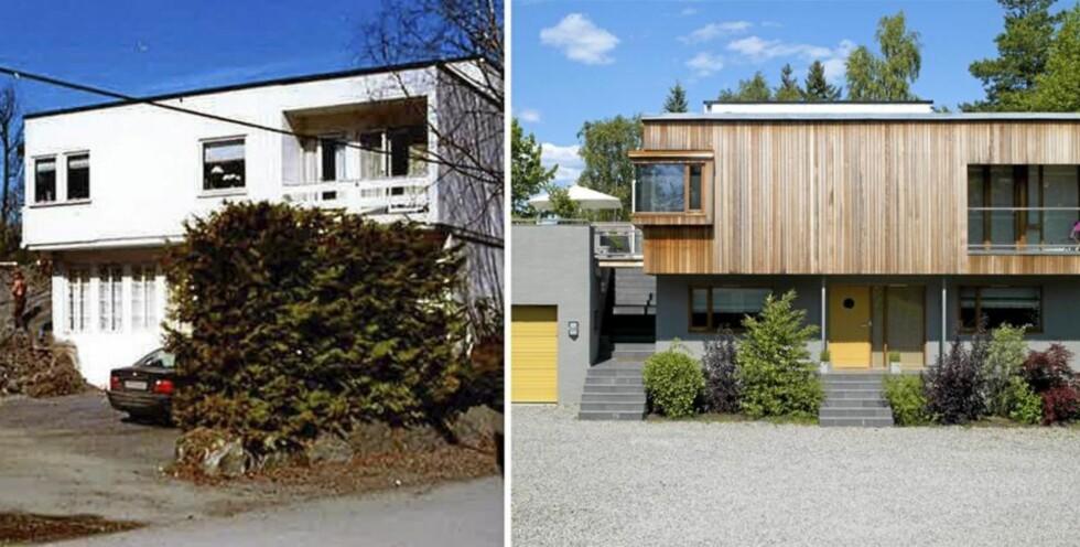 FØR OG ETTER: Boligen er opprinnelig tegnet av arkitekt H. Kinck og senere ombygd av sivilarkitekt MNAL Kristian Vårvik hos Kvarts Arkitekter. FOTO: Privat/Espen Grønli