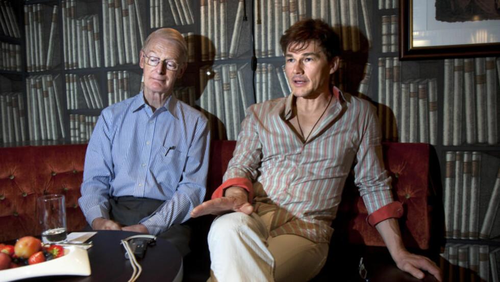 SAMARBEID: Morten Harket og Lord Ian McColl håper a-has Oslo-konsert til inntekt for Mercy Ships også kan bidra til å gjøre hjelpeorganisasjonen kjent i Norge. Foto: Anders Grønneberg