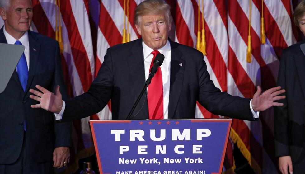 DEN NESTE PRESIDENTEN: Donald Trump tok en overraskende valgseier i dag. Foto: EPA/SHAWN THEW