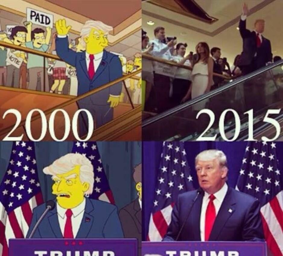 PRESIDENT TRUMP: Skaperne av «The Simpsons» spådde faktisk at Trump skulle bli president, men disse bildene er fra en animasjon som ble publisert i juli 2015, etter at Trump hadde annonsert at han kom til å stille som presidentkandidat. Foto: Skjermdump fra Facebook