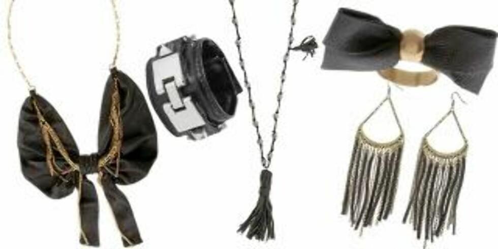 FRA VENSTRE: Kjede fra Bing Bang Timo Weilang (1569), armbånd fra Bik Bok (kr 129), kjede fra Vintage By Fe (kr549), ring fra Bing Bang Timo Weilang (kr 640), øredobber fra Topshop (kr 116). Foto:Asos.com, produsent.