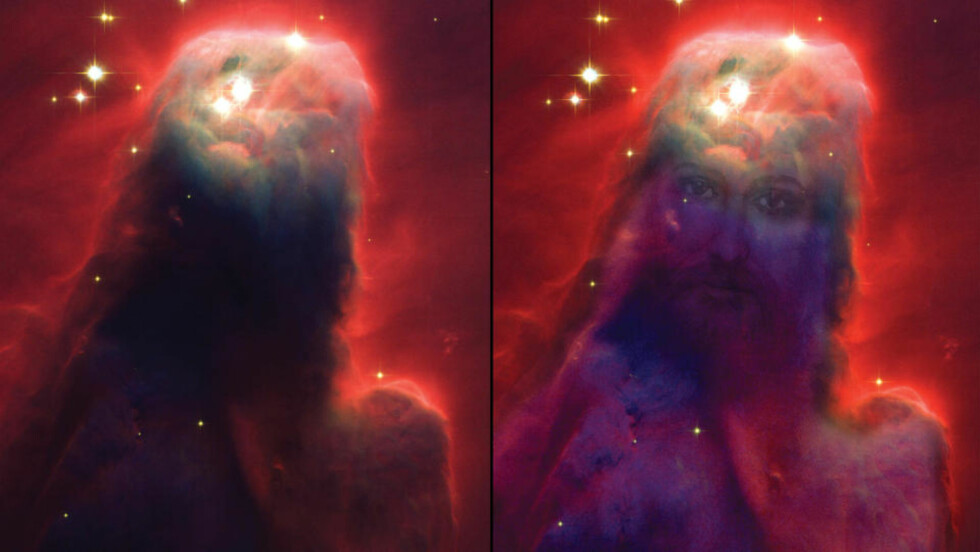 ASTROJESUS: Dette fotografiet engasjerte kristne i 2004. Hva dette egentlig er? Svaret finner du lenger nede i saken. Foto: NASA, Holland Ford (JHU), ACS Science Team og ESA