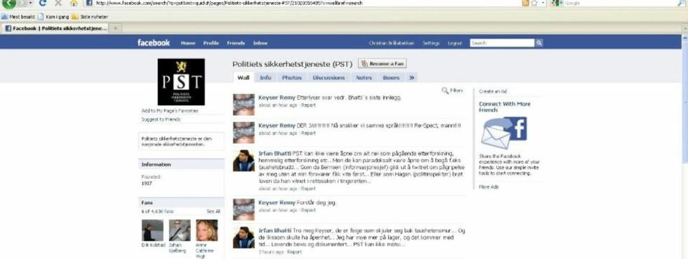 RASER: Arfan Bhatti har de siste dagene skrevet flere kritiske innlegg på facebooksiden til Politiets sikkerhetstjeneste. Foto: Skjermdump fra Facebook.