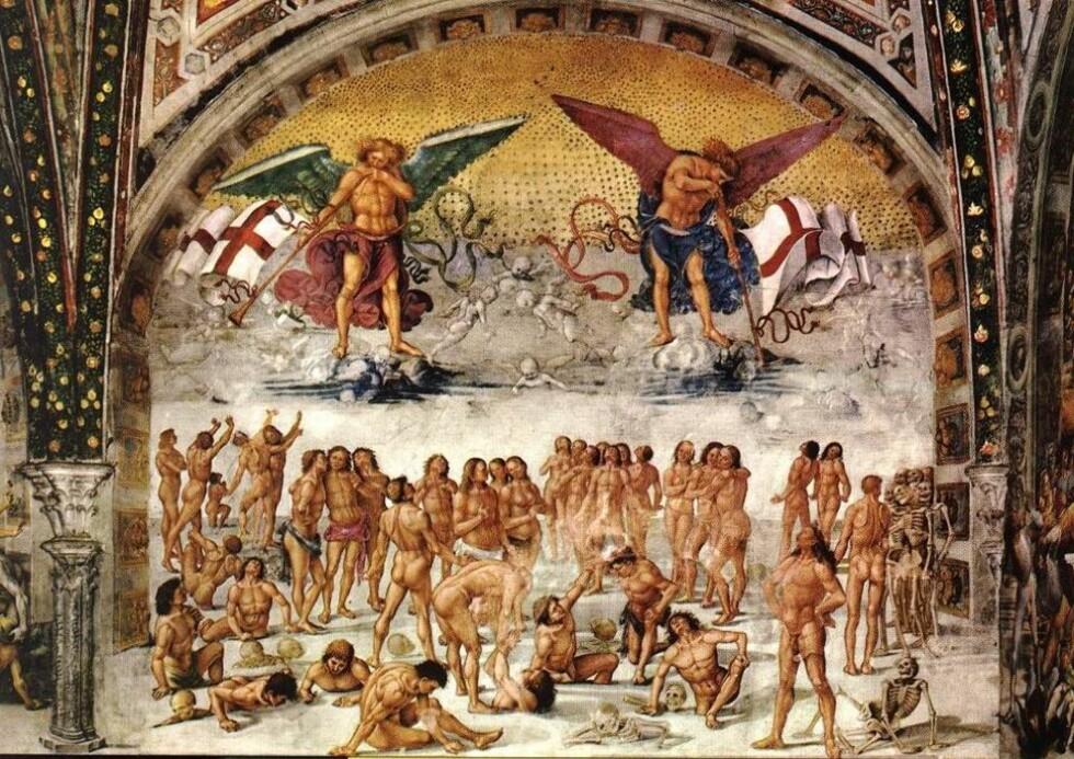 """OPPSTANDELSEN: Både de gamle grekerne og de kristne mente at selve kjøttet, den fysiske kroppen, skulle gjenoppstå etter døden. Heri lå kristendommens suksess, mener religionsviter Dag Øistein Endsjø. Maleriet """"Kjøttets oppstandelse"""" av Luca Signorelli. Foto: WIKIMEDIA"""