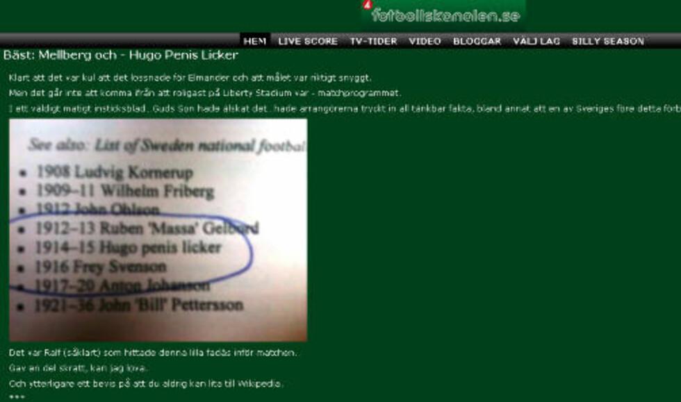 BEVISET: Fotbollskanalen knipset programmet. Faksimile. Fotoballskanalen. se