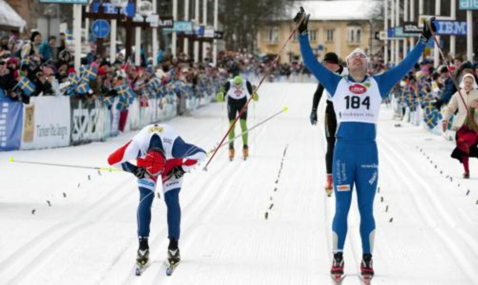 BERØMT FOR KOLLAPS: Petter Northug forsikret etter OL-stafetten at han aldri kommer til å gå på «en Brink», og at han i motsetning til svensken tåler å gå med melkesyre. I går gikk samme Brink inn til seier i den prestisjetunge Vasaloppet. Foto:   AP Photo/ Ulf Palm