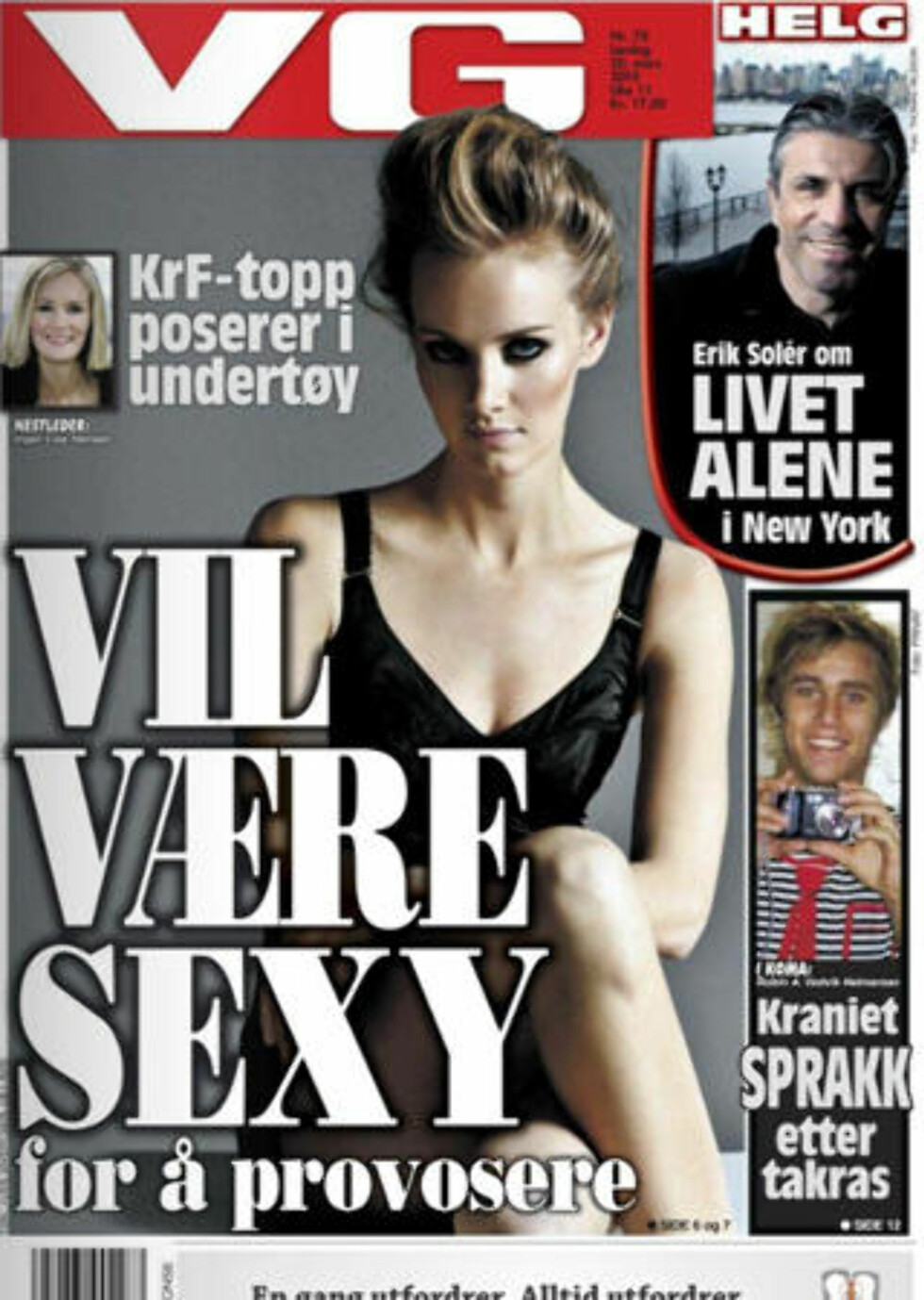 UNDERTØY?: Inger Lise Hansen synes det er feil å skrive at hun poserer i undertøy. Foto: Faksimile av dagens VG