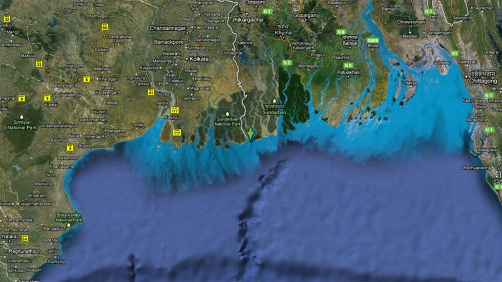 SOM SUNKET... India og Bangladesh har kranglet over New Moore Island (eller South Talpatti Island som den også kalles) i 30 år. Den omlag 10,5 kvadratkilometer store øya, som på grensa mellom nabolandene, er nå borte. Kart: GOOGLE