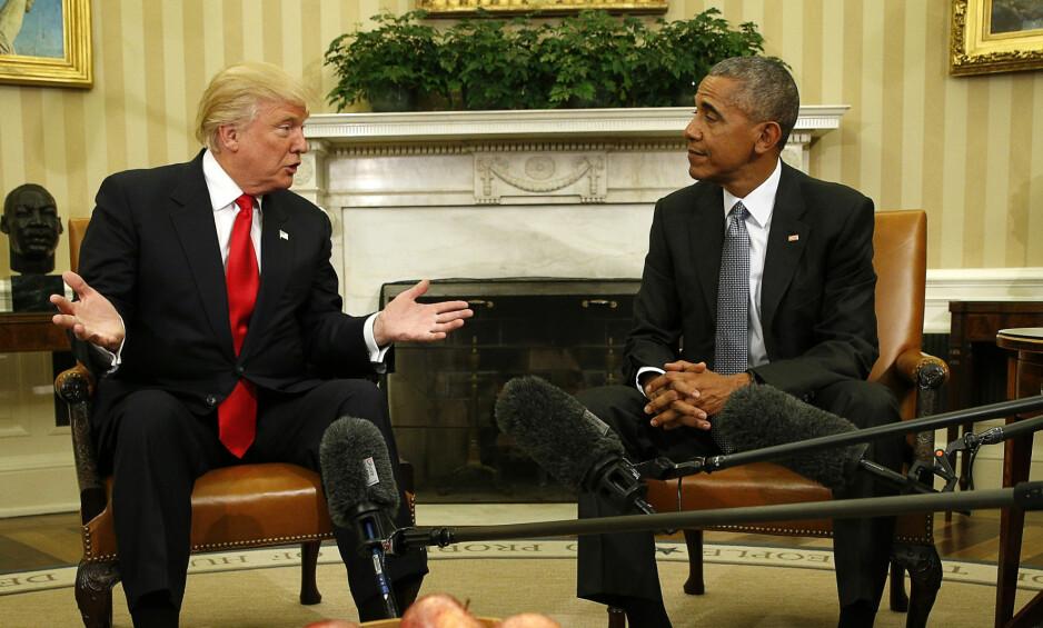 HVA VIL DU, DONALD? Verdens befolkning og ledere klør seg i hodet over Donald Trumps seier. I går møtte Trump den sittende presidenten Barack Obama i Det hvite hus. Foto: Kevin Lamarque/Reuters/NTB Scanpix