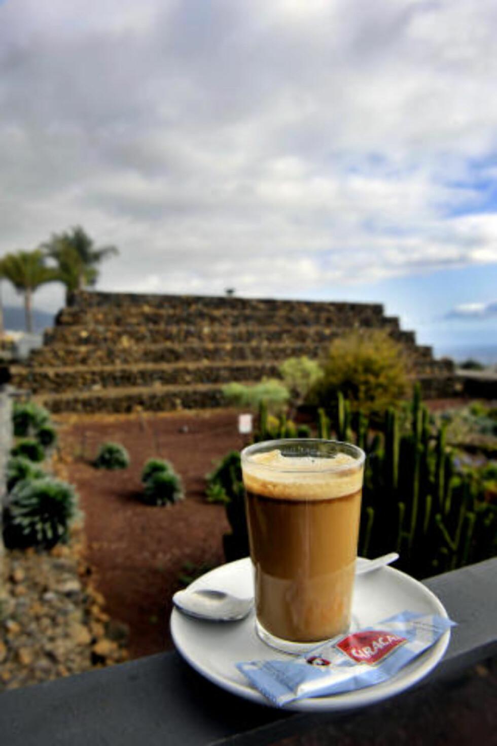 PYRAMIDEKAFFE:  Etter omvisningen i Pirámides de Güimar kan du slappe av med stedets spesialitet;  kaffe med sitron, kanel og likør.  Foto: John T. Pedersen