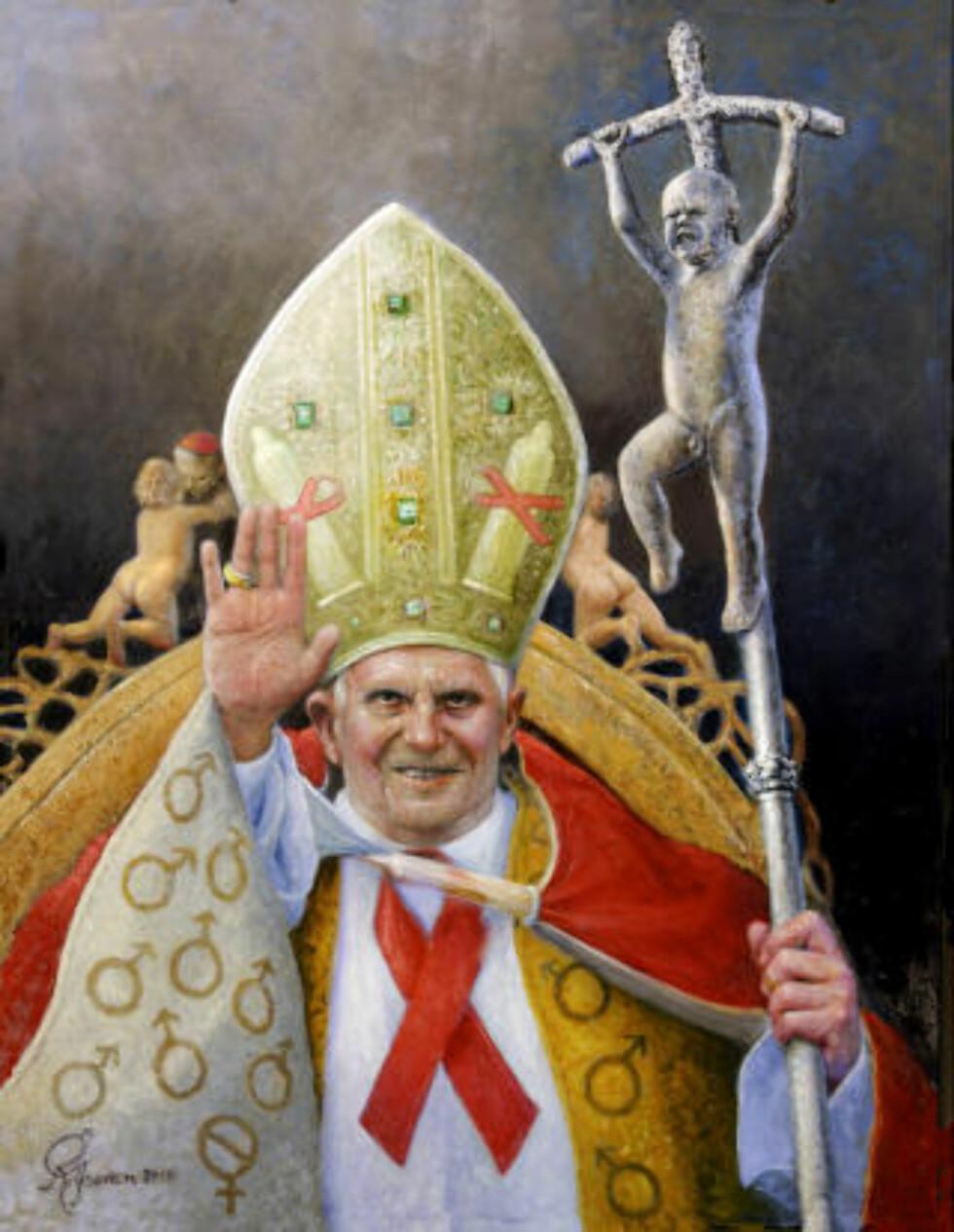 RELIGIØS SATIRE: Her er Rolf Groven siste pek: Pave Benedikt XVI. Legg merke til kardinalen bak til venstre som forgriper seg på en av englene på pavens stol.
