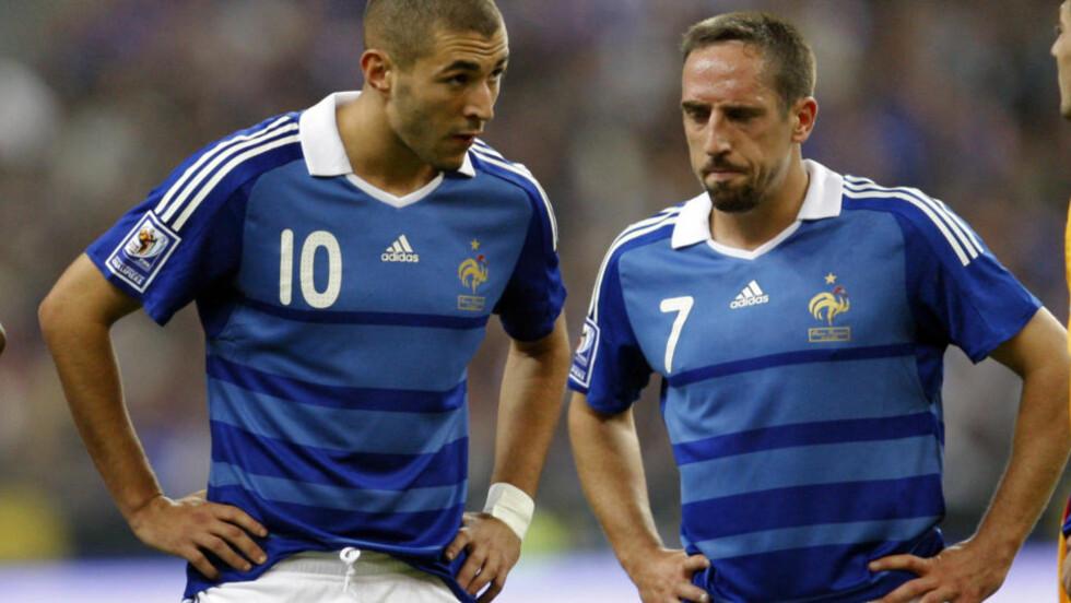 I TRØBBEL: Karim Benzema og Franck Ribery er under etterforskning for å ha kjøpt sex av en prostiuert under 18 år. Foto: AP Photo/Christophe Ena