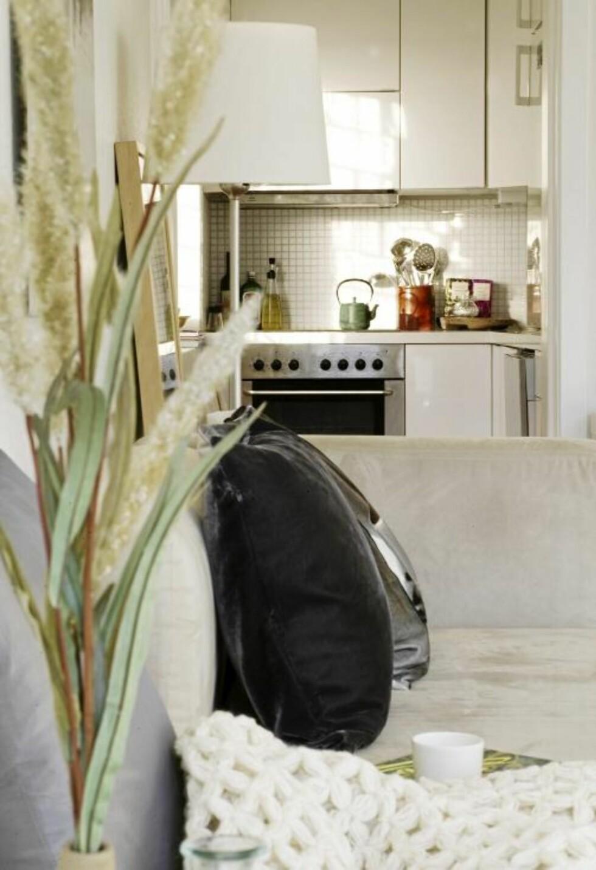 ÅPEN LØSNING: Kjøkkenkroken er liten, men mangler ingenting. FOTO: Yvonne Wilhelmsen