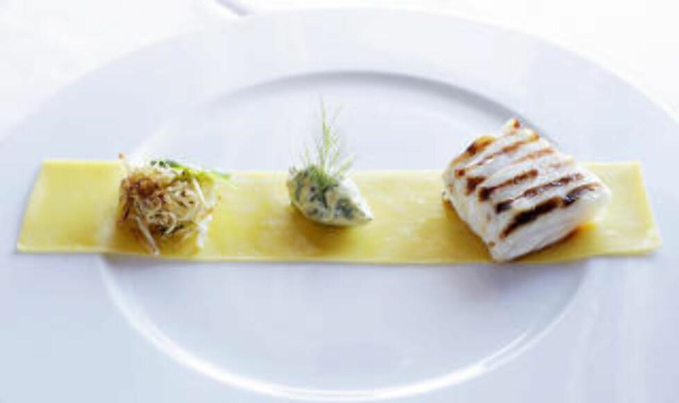 FISK: Bakt nakke av kysttorsk med Linsesmør og fersk Pasta.