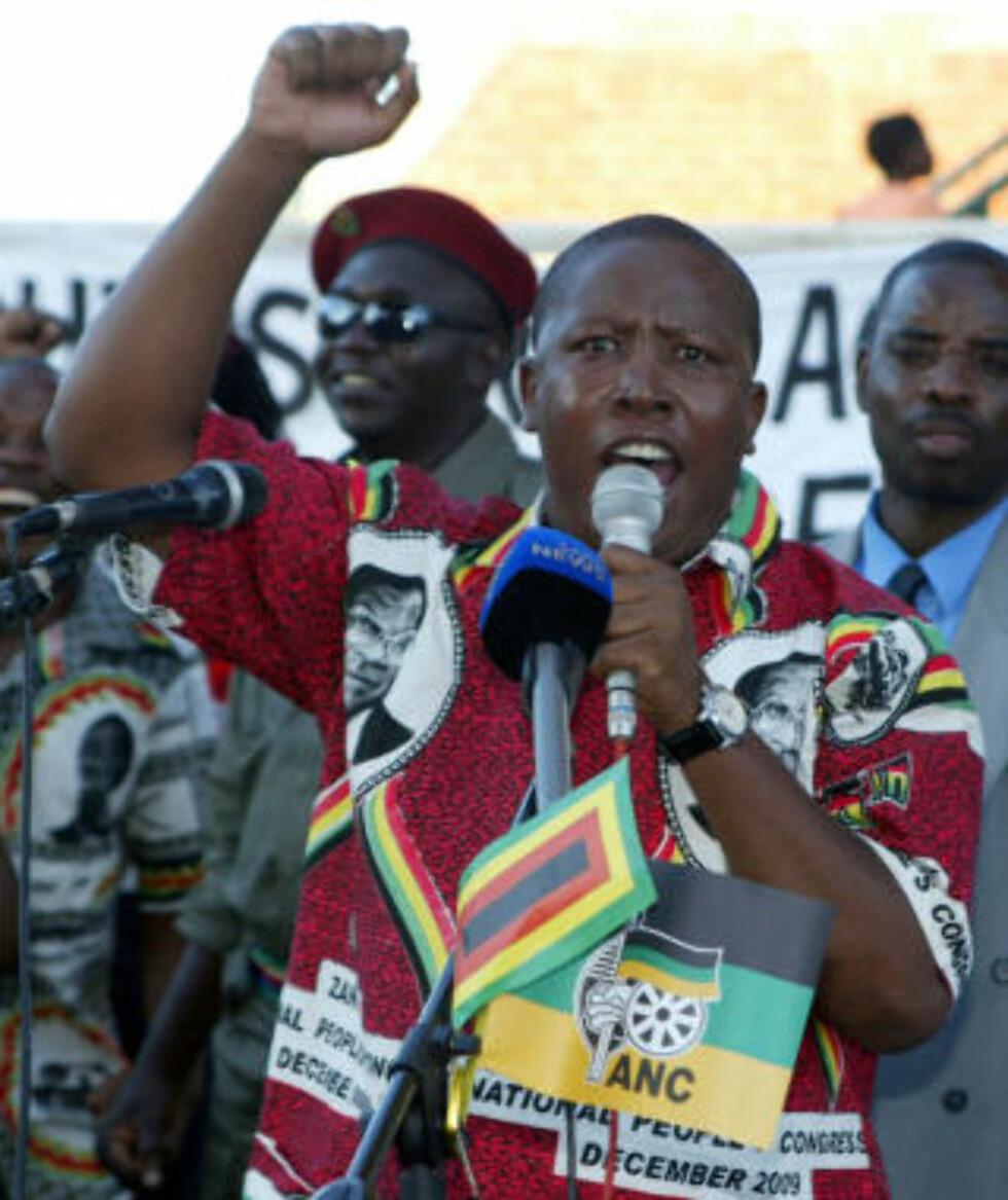 <strong>BILDET ALLE FRYKTER:</strong> Julius Malema, leder for ANC Youth League, taler for Zanu-PF-tilhengere i Harare. Foto: AFP/Jekesai Njikizana