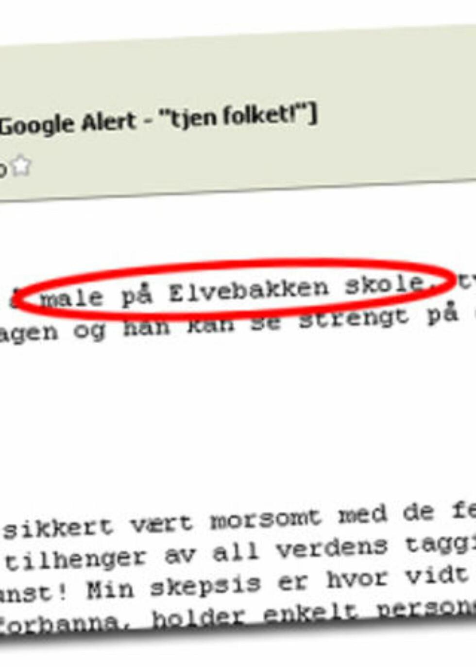 BA OM TAGGING PÅ OSLO-SKOLE: En e-post fra aliaset Joe ba om at det ble tagget på Elvebakken skole i Oslo. Faksimile: Dagbladet