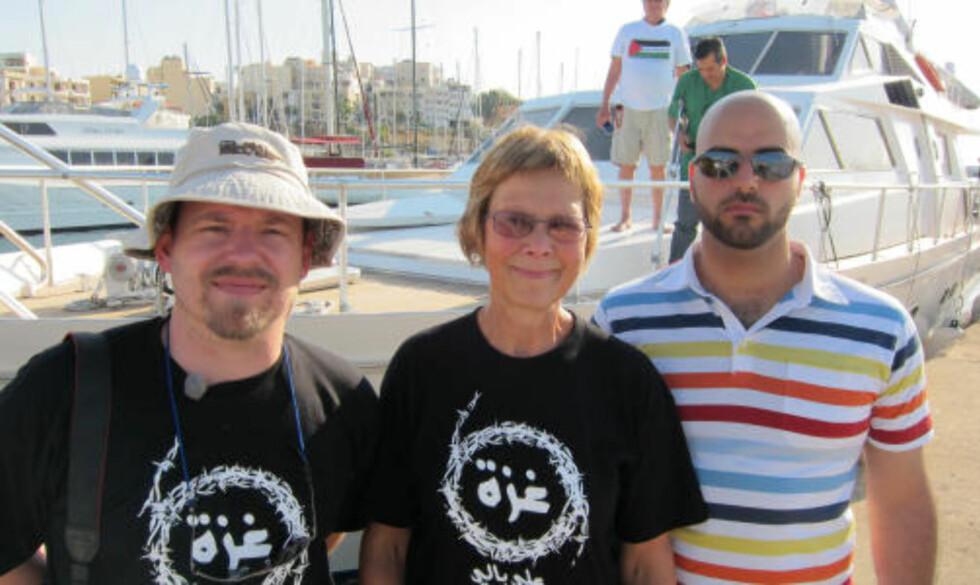 <strong>OM BORD:</strong> Disse tre nordmennene skal være om bord Mavi Marmara: Espen Goffeng, Randi Kjøs og Nidal Hejazi. Foto: Privat