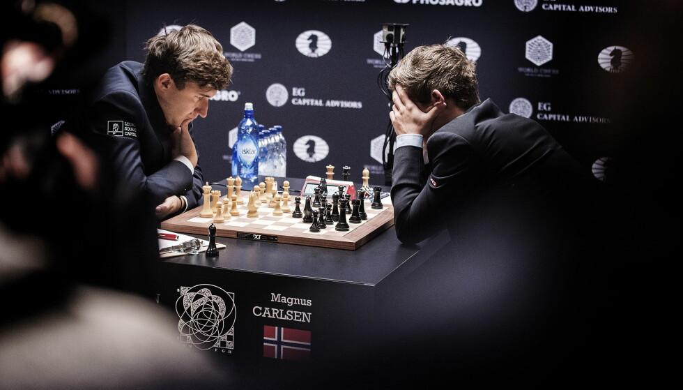KARJAKIN I ANGREP: VMs andre parti handlet om å forsvare seg for Magnus Carlsen, noe han gjorde på ypperlig vis. Foto: Hans Arne Vedlog/Dagbladet