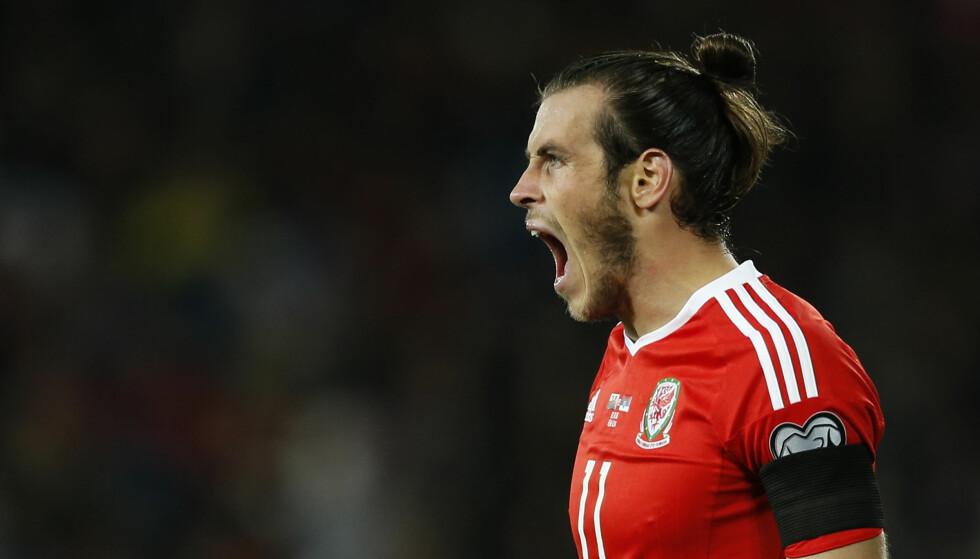 JUBLER: Gareth Bale under kveldens kamp mot Serbia. Foto: NTB Scanpix