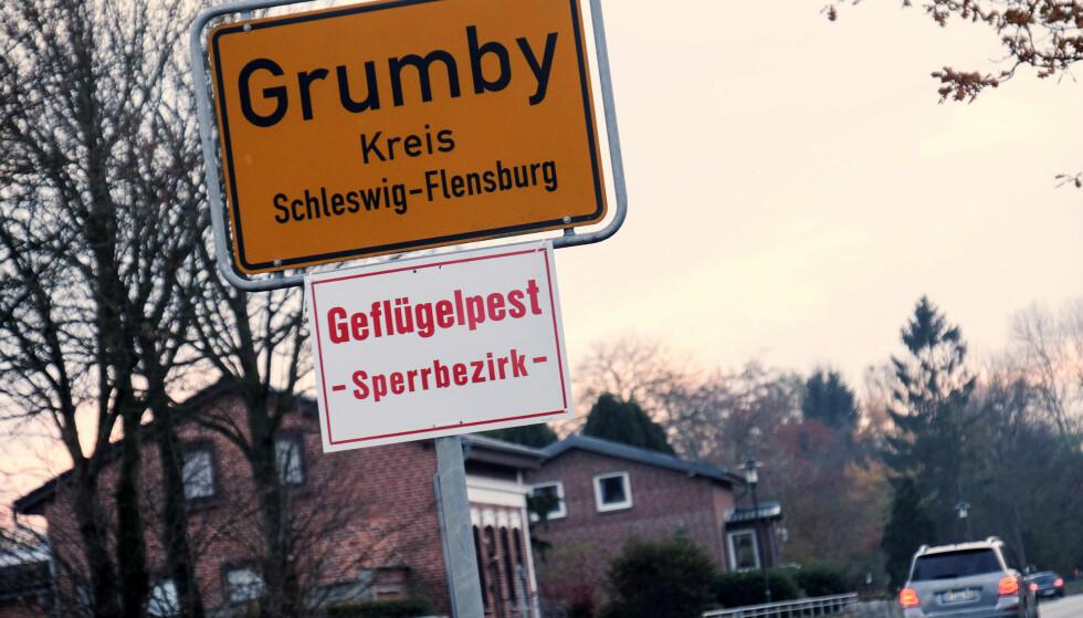 ADVARSEL: I den tyske byen Grumby er det satt opp skilt om fugleinfluensa. Foto: Sebastian Iwersen/Nordpresse/Reuters