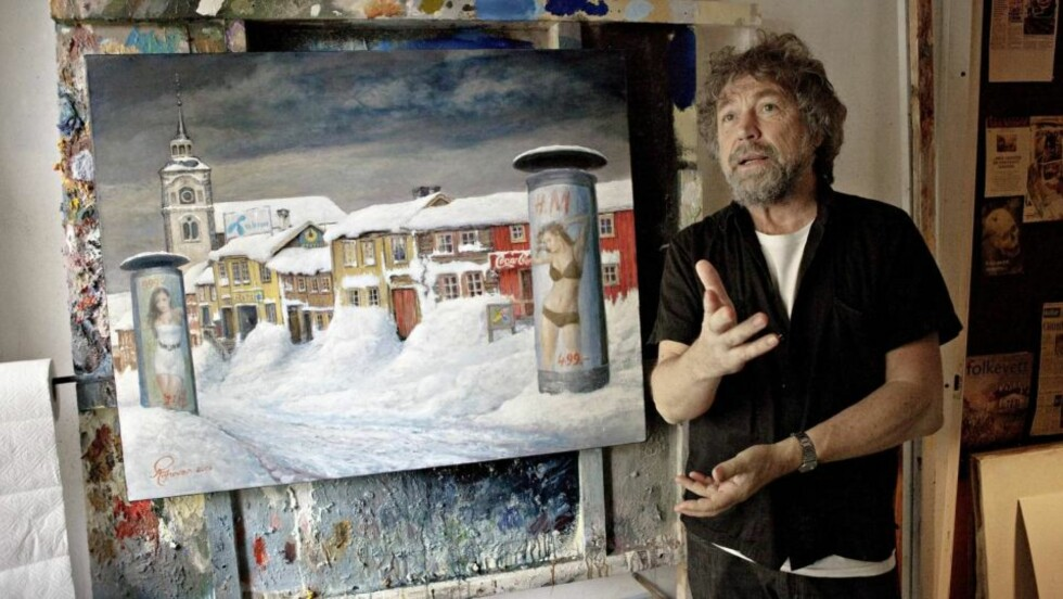 ANNO 2009: Rolf Groven har malt Røros slik bergstaden kunne sett ut i dag. Foto: Lars Eivind Bones