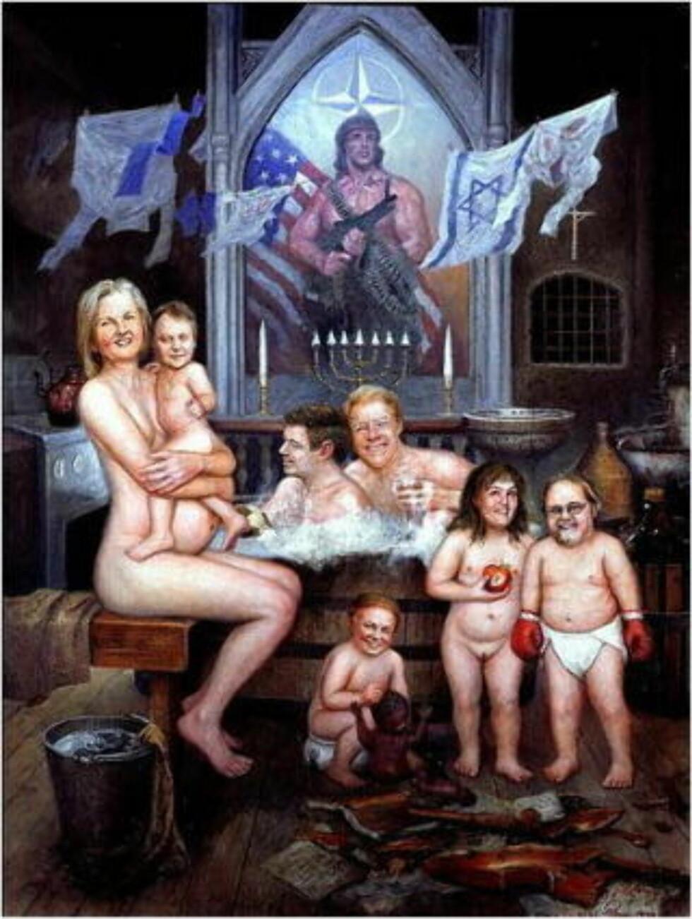 I 1999: Groven malte Valgerd Svarstad Haugland gravid med Vidar Kleppe på fanget og Carl I. Hagen og Kjell Magne Bondevik i badekaret.