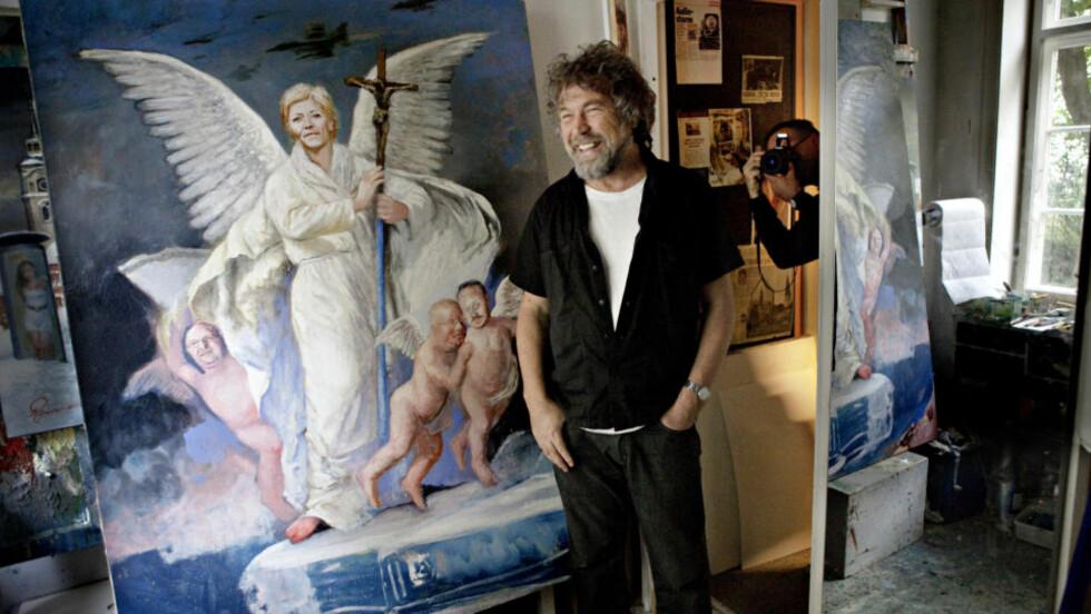 MENT SOM ET SPARK: Rolf Groven har døpt bildet «De nyreligiøse», som en satirisk kommentar til at Frp har tatt opp kampen mot KrF om de kristne velgerne. Foto: Lars Eivind Bones
