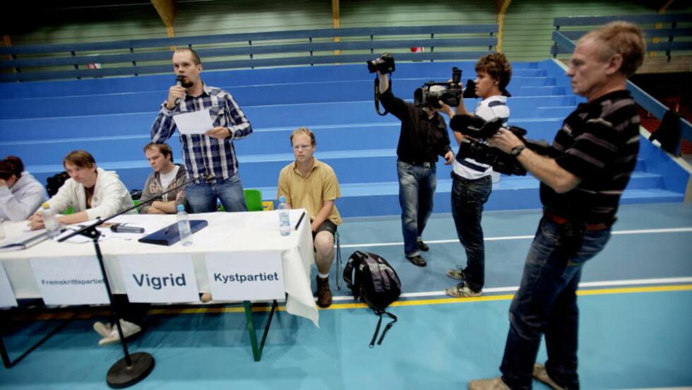 FÅR UNGDOMSSTEMMER: Vigrid har ingen muligheter til å komme inn på Stortinget, men får oppmerksomhet i skoledebattene, som her i Drammen.  Foto: Stian Lysberg Solum / SCANPIX