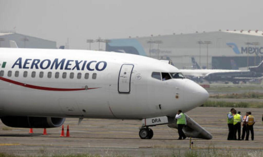<b>FLYET:</b> Dette passasjerflyet, Boeng 737 med 104 passasjerer ombord, ble kapret på det populære feriestedet Cancun i Mexico i kveld. Foto: AP Photo/Gregory Bull