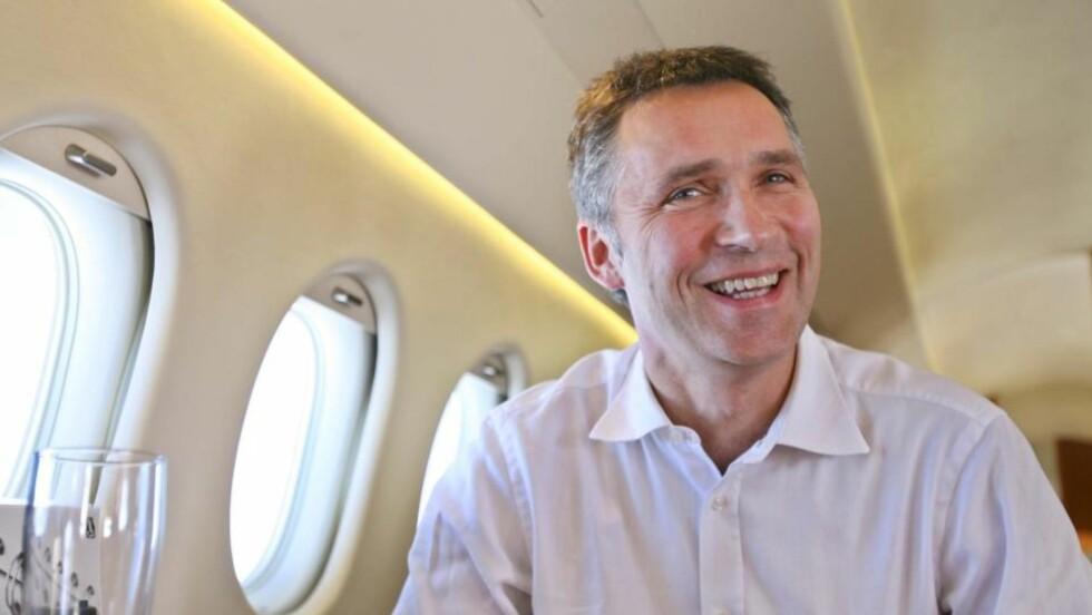 NY REKORD: Statsminister Jens Stoltenberg har vært flittig i lufta med privatfly. Foto: Håkon Mosvold Larsen / SCANPIX