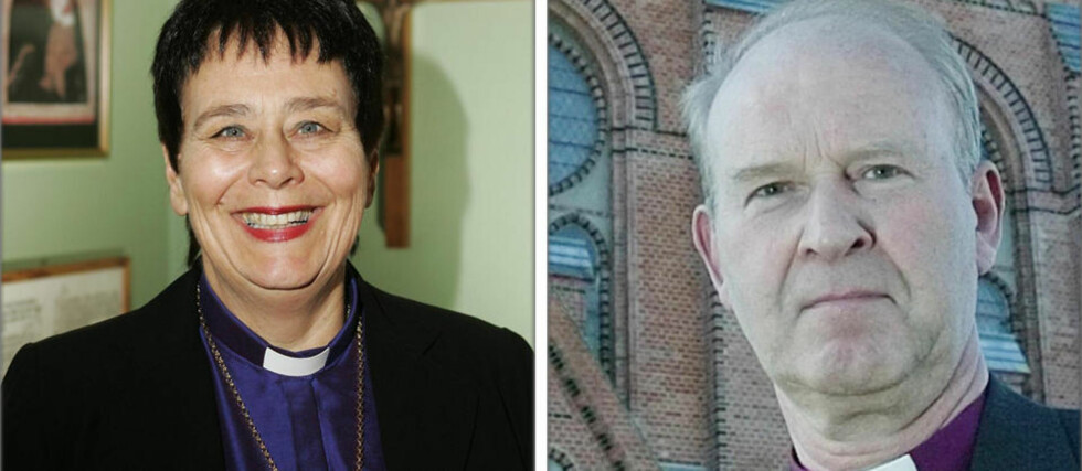 Biskop Solveig Fiske og biskop Olaf Skjevesland. Foto Heiko Jung/Scanpix og Torbjørn Berg/Dagbladet