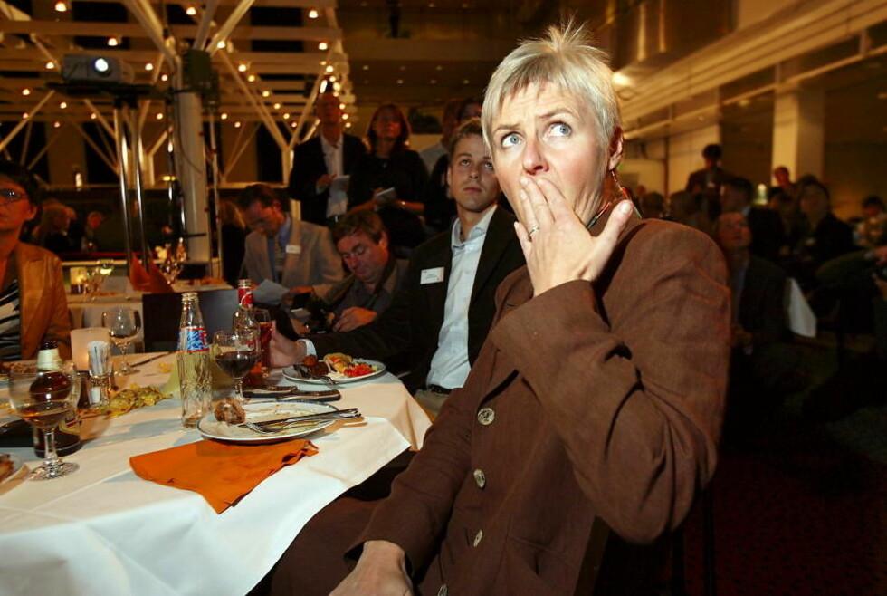 KOMMUNEVALGET 2003: Valgdagsmålingen fikk fram ansiktsmimikken hos Valgerd Svarstad Haugland. Krf lå ifølge TV2s valgdagsmåling an til et elendig resultat. Foto: Tore Bergsaker
