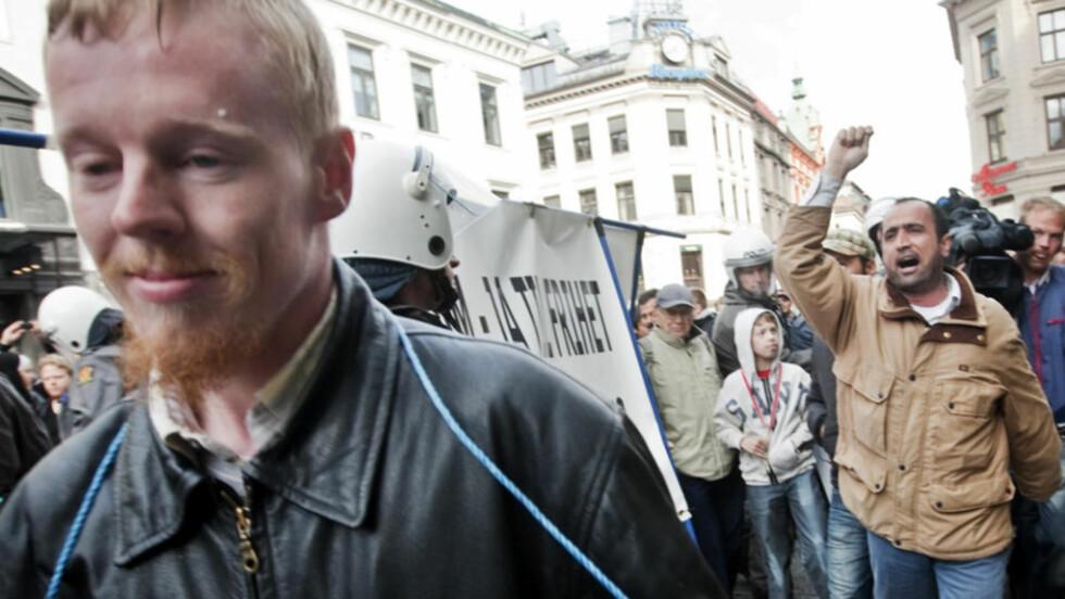 OMSTRIDT: NorgesPatriotenes leder Øyvind Heian måtte høre mange ukvemsord da han arrangerte en motdemostrasjon til en markering mot muslimhets på Grønland i Oslo i mai. Foto: KYRRE LIEN/SCANPIX