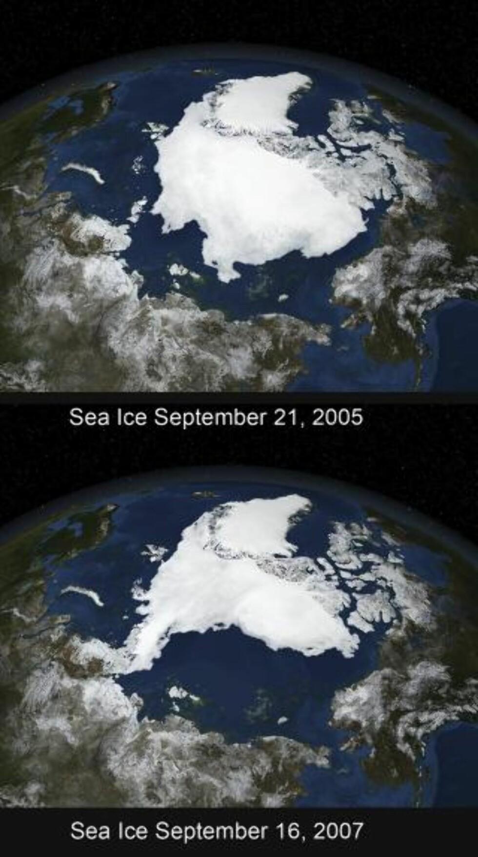KRISEÅRET 2007: Bildene viser forskjellene i sommeris på Arktis mellom 2005 og 2007, som er det verste bunnåret siden målingene startet. Foto: REUTERS/NASA/Scanpix