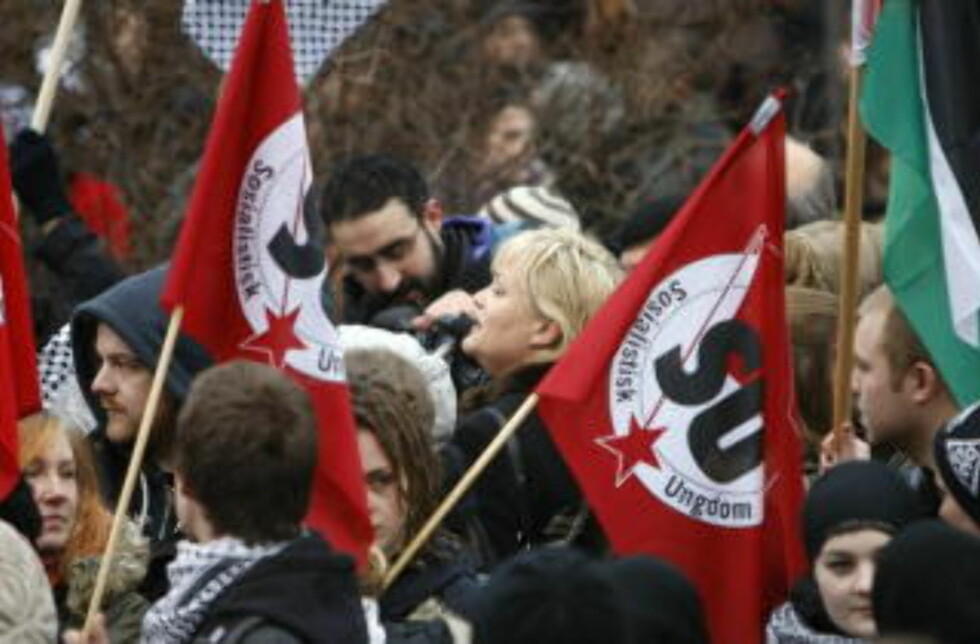 ENGASJERT:SV og SU på demonstrasjon mot bombingen på Gaza-stripen i vinter. Foto: Lise Åserud / SCANPIX