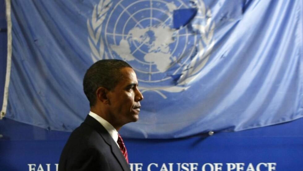 I FN: USAs president Barack Obama snakket om både Midtøsten og atomnedrustning i sin aller første tale til FNs hovedforsamling. Men aller viktigst var budskapet om at landene må samarbeide for å løse verdens mest alvorlige problemer. Foto: REUTERS/Kevin Lamarque/Scanpix