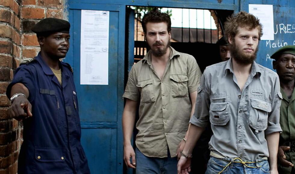 I FENGSEL:  Tjostolv Moland(28) og Joshua French (27) sitter i fengsel i Kisangani i Kongo. Det kan ta flere år før en overføring er på plass. Foto: Espen Røst