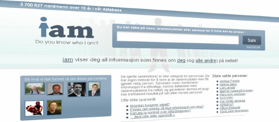 OMSTRIDT: Datatilsynet vil ha svar på en rekke spørsmål fra de ansvarlige bak personsøketjenesten iam.no. Foto: FAKSIMILE