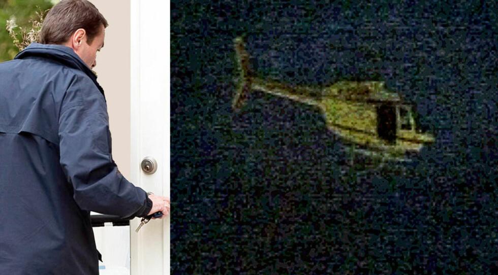 RANSAKING: Politietterforskere låser seg inn hjemme hos 34-åringen som mistenkes for å ha fløyet helikopteret under ranet i Västberga onsdag (t.h.). Foto: SUVAD MRKONJIC (ransakingen), BJÖRN LOCKSTRÖM (helikopteret)/EXPRESSEN