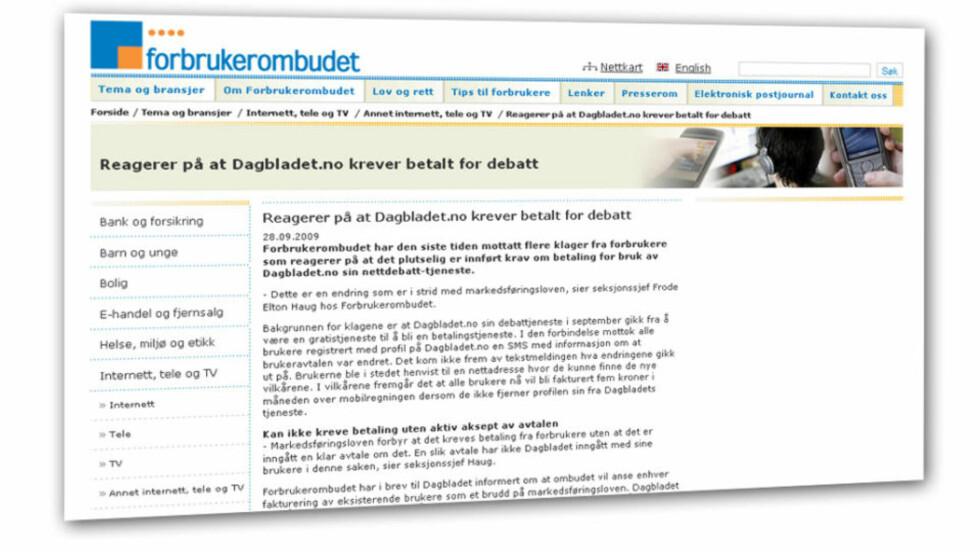 Dagbladet.no får kjeft av Forbrukerombudet