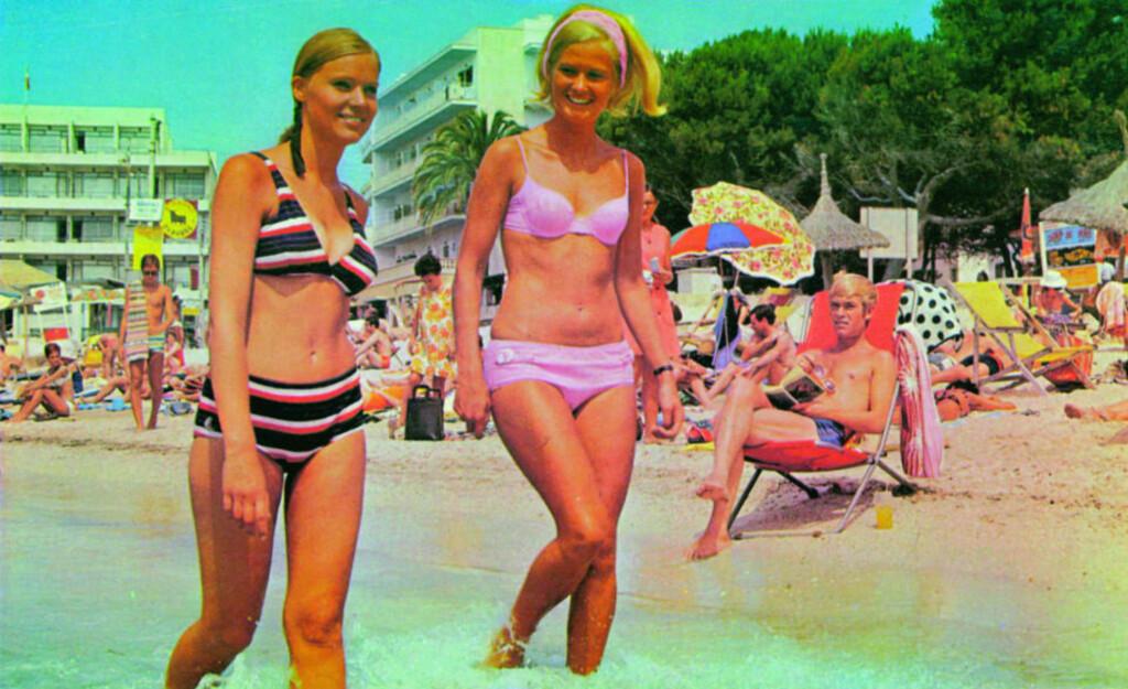 SOLFAKTOR UKJENT DE FØRSTE ÅRENE: I 1962 ble solkremen introdusert i Syden som et alternativ til Spenol og Nivea. Men det tok mange år, noen vil si vi sliter fremdeles, med å få folk til å bruke faktor. Foto: «Charter - 50 år til Syden»/Vega forlag