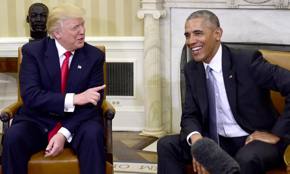 STØRRE HANDLINGSROM: President Barack Obama møtte forrige uke påtroppende president Donald Trump, som vil få mye større handlingsrom enn Obama gjennom republikanernes flertall i både Senatet og Representantenes hus. Foto: NTB Scanpix