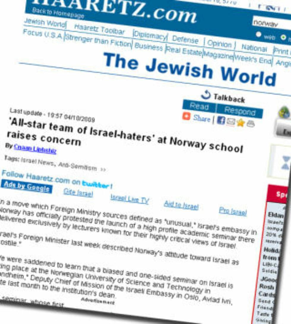 OPPMERKSOMHET I ISRAEL: Den israelske avisa Haaretz slo opp seminarrekken. Skjermdump: Haaretz.com