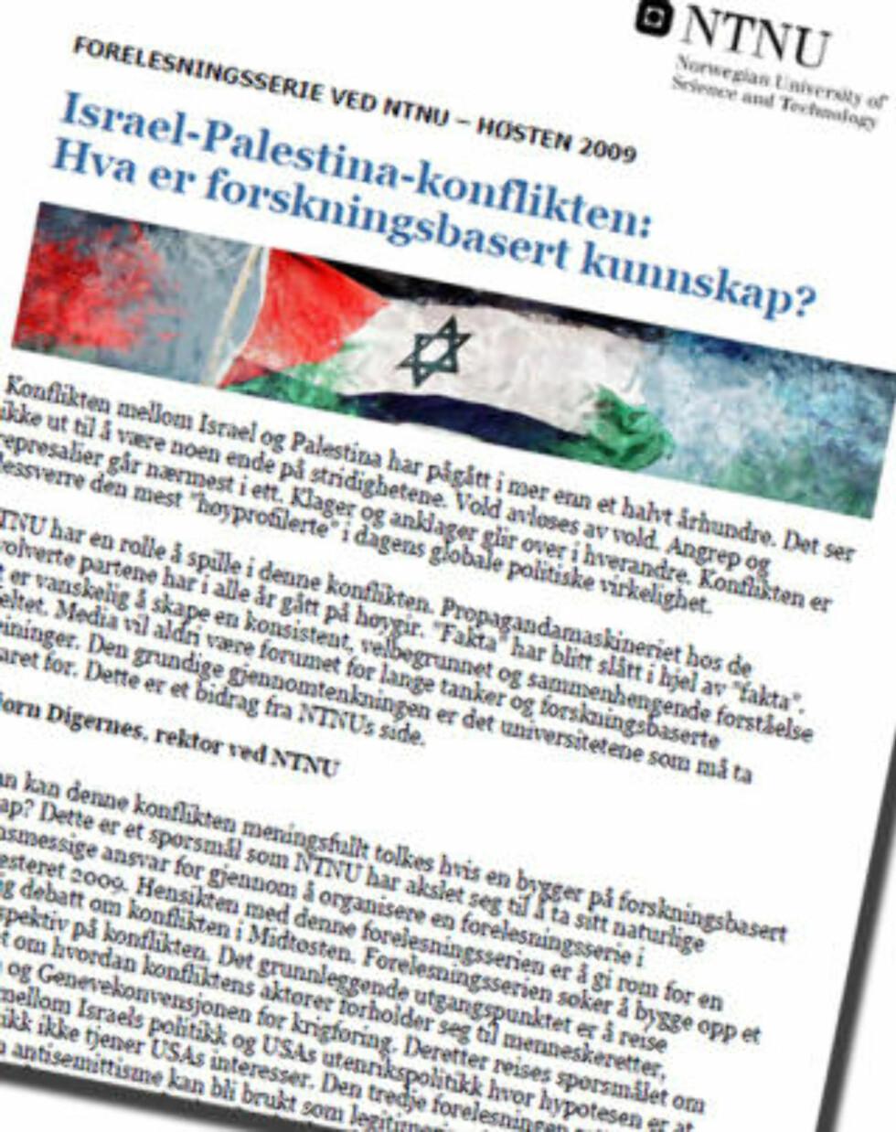 SKAPER BRÅK: Forelesningsserien «Israel-Palestina-konflikten: Hva er forskningsbasert kunnskap?» ved NTNU.